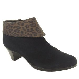 Munro Grace bootie with cheetah print cuff